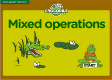 2nd grade mixed operation game - Online crocodile math board game