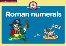 5th grade Roman numerals pirate waters math board game online