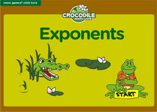 6th grade expoents and powers interactive online math crocodile board game
