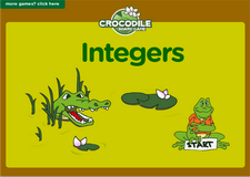 7th grade integers interactive online math crocodile board game