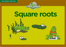 7th grade square roots interactive online math crocodile board game