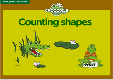 Counting shapes crocodile online board game for preschoolers and kindergarten