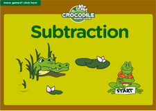 Subtraction crocodile board game for preschoolers and kindergarten kids