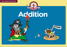 Addition of numbers pirate game for kindergarten kids
