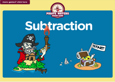 Subtraction pirate waters online board game for preschoolers and kindergarten kids